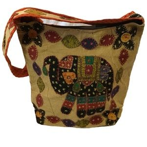 Boho hippie Ethnic patchwork elephant hobo bag